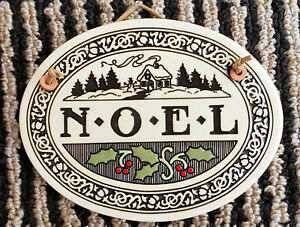 """Trinity Pottery Handcrafted Plaque NOEL Stoneware Wall Art 5.5"""" x 7 ¼""""  USA made"""