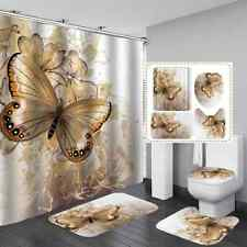 4Pcs Butterfly Shower Curtain Sets with Non-Slip Rugs Toilet Lid Cover Bath Mats