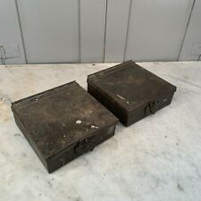 Pair antique military ammunition ammo metal boxes (empty)