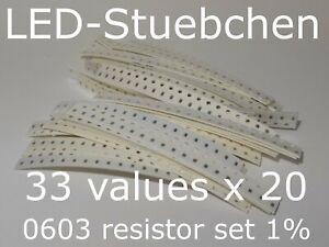 SMD Widerstandssortiment 0603 1%, 33 Werte x 20 Stück = 660 Stück