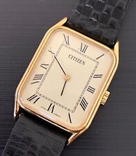 NOS NEW Citizen hand winding cuerda watch vintage leather piel 25,5mmx29,5mm
