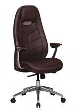 Chaise de bureau pivotante siège de direction Laredo en cuir véritable brun