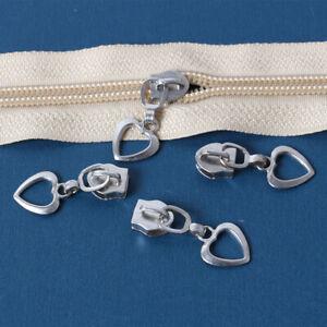 10PCS 5# Heart Zipper Head Slider Pull Metal Repair Clothes Bag Replacement DIY