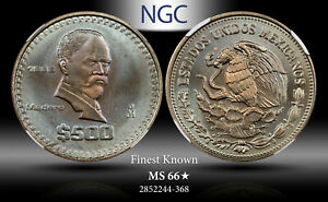 1988-MO MEXICO 500 PESOS NGC MS 66* STAR FINEST KNOWN WORLDWIDE TONED