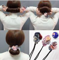 Women Girl Flower Pom Bun Ball wire stick ponytail holder hair band wrap tie