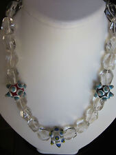 NEW Crystal And Lamp Work Bead Sterling Silver  Necklace