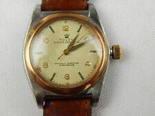 1944 MENS ROLEX  BUBBLE BACK 14K ROSE GOLD/SS REF# 3133 JUST SERVICED 32 MM
