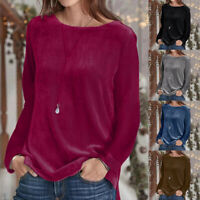 Women's Round Neck Long Sleeve Pleuche Solid Casual Loose T-Shirt Tops Blouse UK