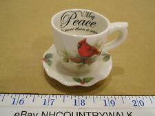 Cracker Barrel Holiday Garden Peace Tea Cup & Saucer Candlestick Holder - Euc