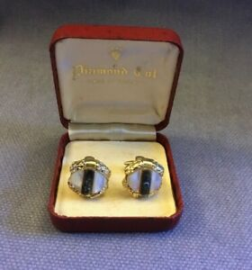 BOXED PAIR VINTAGE GENTS MOTHER OF PEARL & ABALONE CUFFLINKS ~ 1960s-1970s