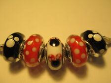 5 Pandora silver 925 bead charm murano Disney Minnie Mickey 791634 791633 New