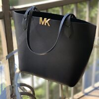 NWT MICHAEL KORS MONTGOMERY LEATHER LARGE BONDED TOTE Handbag Black Gold Tone