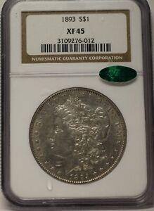 1893 $1 MORGAN PCGS XF 45 CAC APPROVED GRAYISH WHITE
