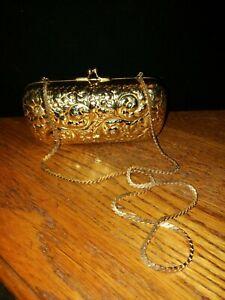 JUDITH LEIBER gold metal floral leafy minaudiere evening bag handbag
