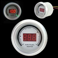 "Car 2"" 52mm Red Digital Color 20 LED Air Fuel Ratio Gauge Meter White"