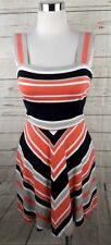 Milly Banana Republic Ponte Knit Dress Size 0 Coral Black Stripe Sleeveless
