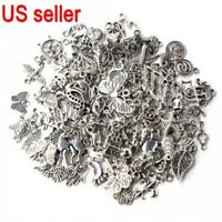 Wholesale Bulk Lots Tibetan Silver Mix Charm Pendants Jewelry DIY US Ship