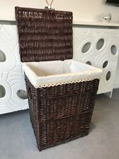 Dark Brown Shabby Chic Large Laundry Basket Wash Bin Washing Linen Wicker