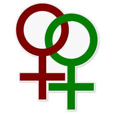 """Gay Pride Female Lesbian Symbol car bumper sticker window decal 5"""" x 4"""""""