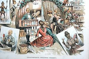 Inappropriate Christmas Gifts 1888 Books Black Americana Bible Wine Matted Print
