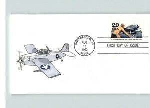 "Hand Painted, World War II Anniversary, ""U.S. wins Battle of Coral Sea"" 1992 FDC"