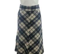 Stile Benetton Womens A Line Midi Plaid Skirt Black White Zipper IT 44 US 8