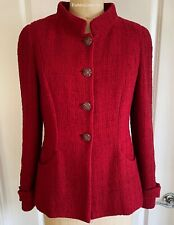 CHANEL 12A BOMBAY RED TWEED CC GRIPOIX BUTTONS JACKET SKIRT SUIT SET 42