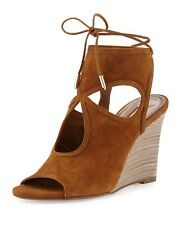 New $565 Aquazzura Firenze Sexy Thing Wedge Suede Cognac Brown Sandal Shoes 36 6
