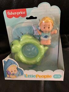 Fisher Price ~ Little People Bundle 'n Play Baby Figure Shark Towel Turtle Pool