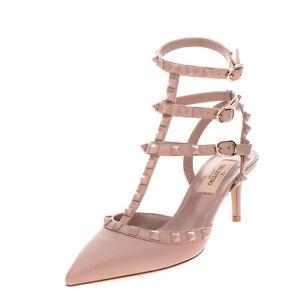 RRP €955 VALENTINO GARAVANI Leather T-Strap Shoes EU 36 UK 3 US 6 Heel Rockstud