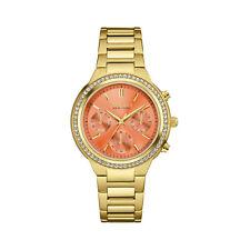 Caravelle New York Women's 44L218 Quartz Crystal Melon Dial Gold-Tone 36mm Watch