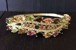 $1,000 15.75CT NATURAL MULTI-COLOR TOURMALINE & TOPAZ CLUSTER BANGLE BRACELET