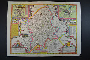 Vintage decorative sheet map of Stafford Staffordshire John Speede 1610