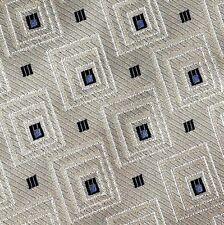 Mondo Seta Men's Necktie Tie 100% Silk Italy Made Gold Gray Black Geometric