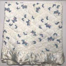 Vtg Baby Blanket Scotty Dog Kozy Komfort Blue Check Cream Satin Trim Scottie