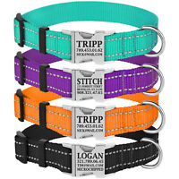 Personalized Nylon Dog Collars Reflective Pet Collar Custom Engraved Buckle S L