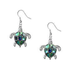 Sea Turtle Fashionable Earrings - Fish Hook - Abalone Paua Shell