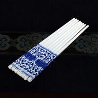 10Pcs Chinese Handmade Blue and White Porcelain Ceramic Chopsticks Support NEW⭐