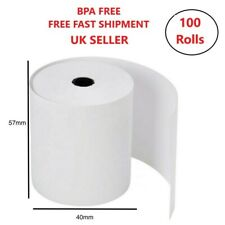 More details for 100 rolls 57x40 thermal rolls credit card machine receipt till rolls