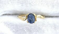14Kt REAL Yellow Gold Natural Blue Sapphire Cabochon Cab Gemstone Ladies Ring