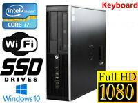 Gaming PC Desktop HP 8300 SFF i7 16GB 128GB SSD+1TB HD6450 Win10 WIFI +KB