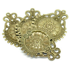 New 30 Bronze Tone Filigree Flower Wraps Connectors 6.6x4.6cm