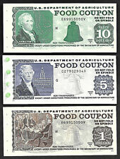 FOOD STAMP COUPON GEM UNC THREE COUPONS $10. $5. $1. USDA STORE CHANGE