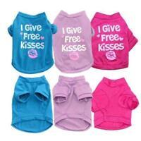 I Give Free Kisses Dog Tshirt Pet Shirt Tee Cute Pink Purple Size XS S Small