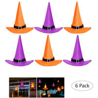 6Pcs Halloween Solid Witch Hats Caps String Party Outdoor Decor Hook Cap Props