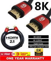 8K Ultra HD Premium HDMI Cable V2.1 High Speed 3D Ethernet Gold Plated 2M 1.5M