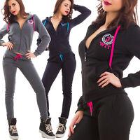 Tuta donna completo pantaloni fitness cappuccio scritte sport zip nuova J906