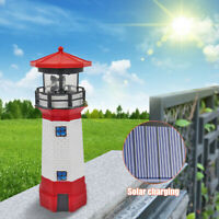 LED Solar Leuchtturm 27 cm | Garten Leuchtfeuer Rot Weiß | Deko Beleuchtung