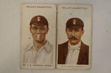1908 Vintage Wills Cricket Cards - E.G. Hayes / J.N. Crawford - Surrey.