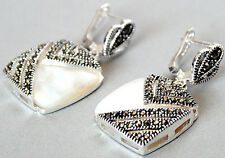 Marcasite 925 sterling silver Earrings Natural Mother of Pearl Shell
